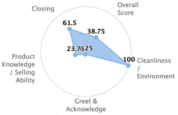 Graph showing high cleanliness and closing skills and low scores for all other measurements.